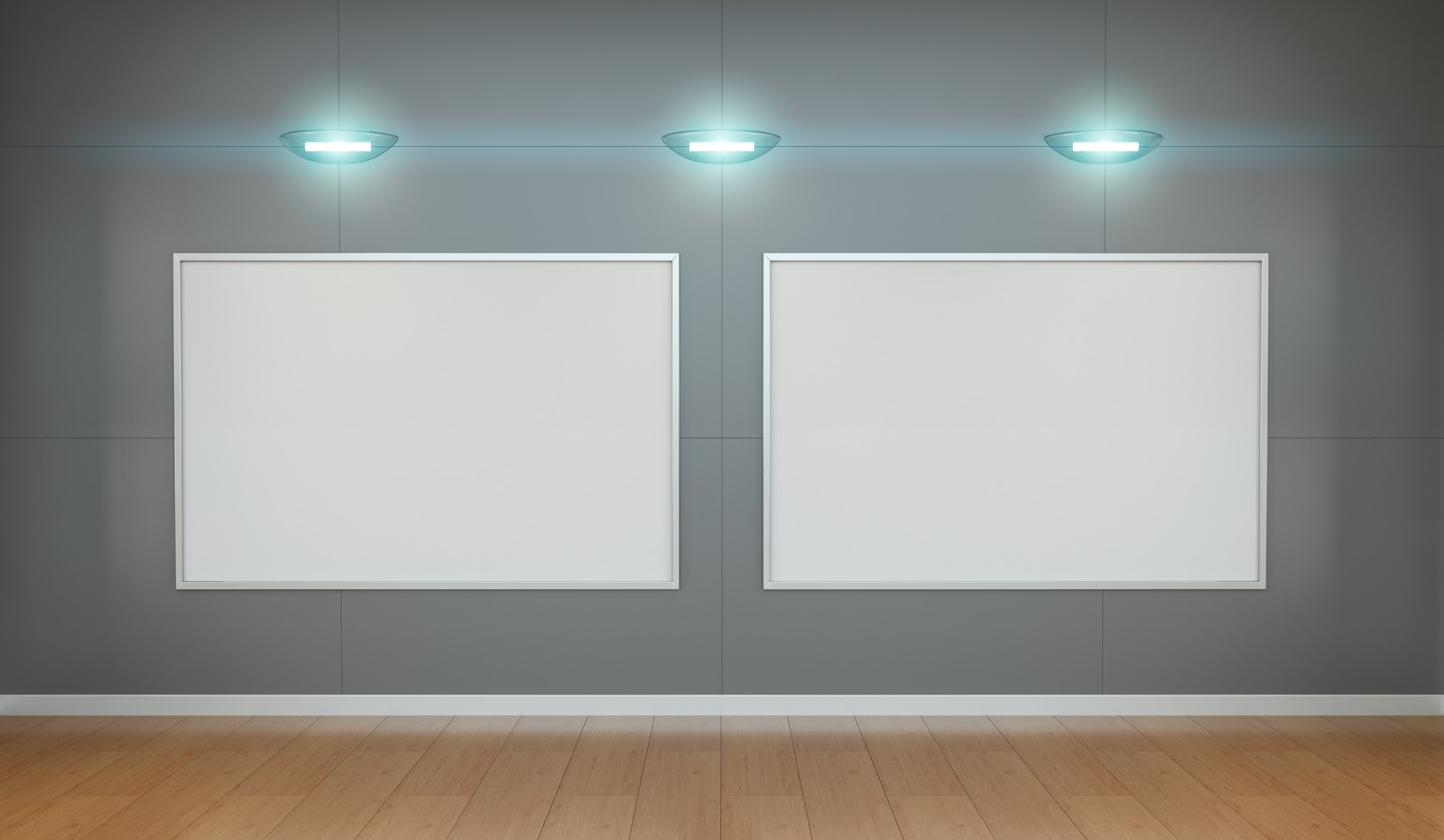 Two white blanks canvas on grey wall with lamps 3D rendering
