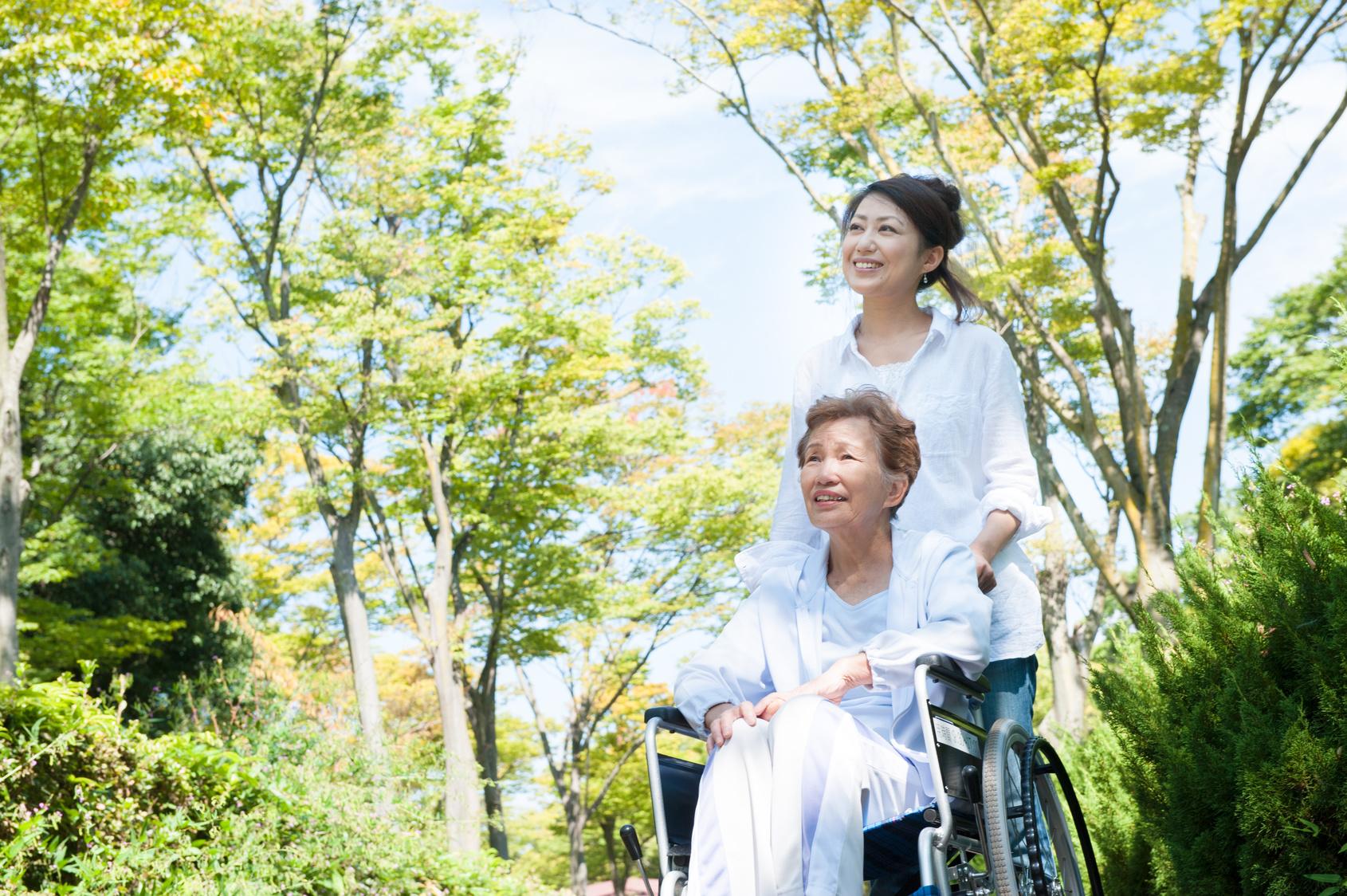 公園の中 車椅子の高齢者と介護する女性