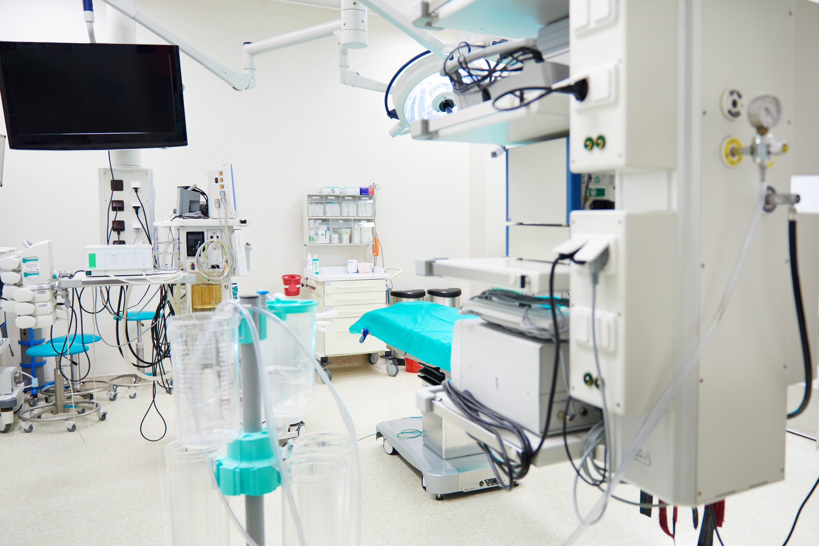 Empty operating room with medical technology