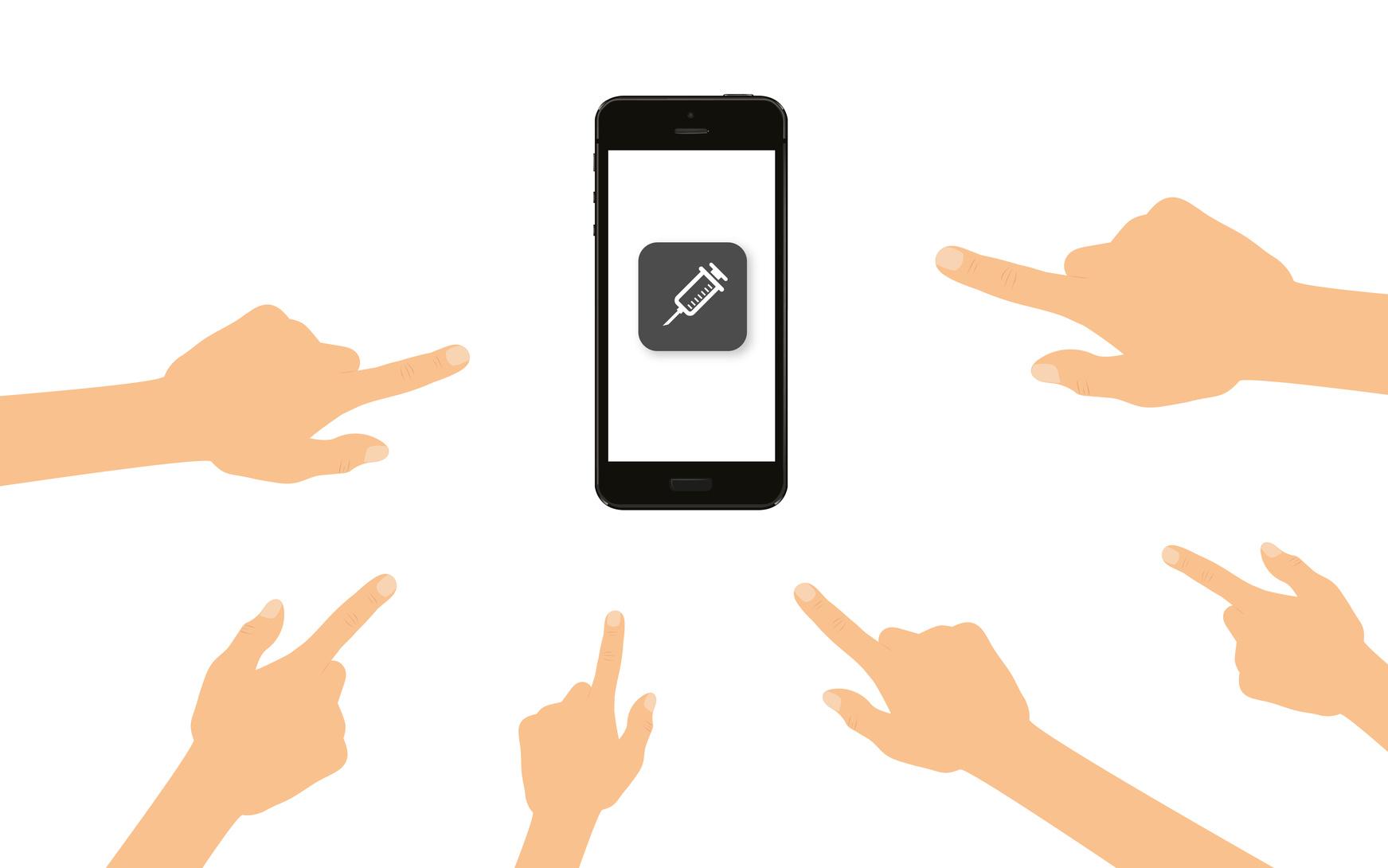Finger zeigen auf Smartphone mit Spritze