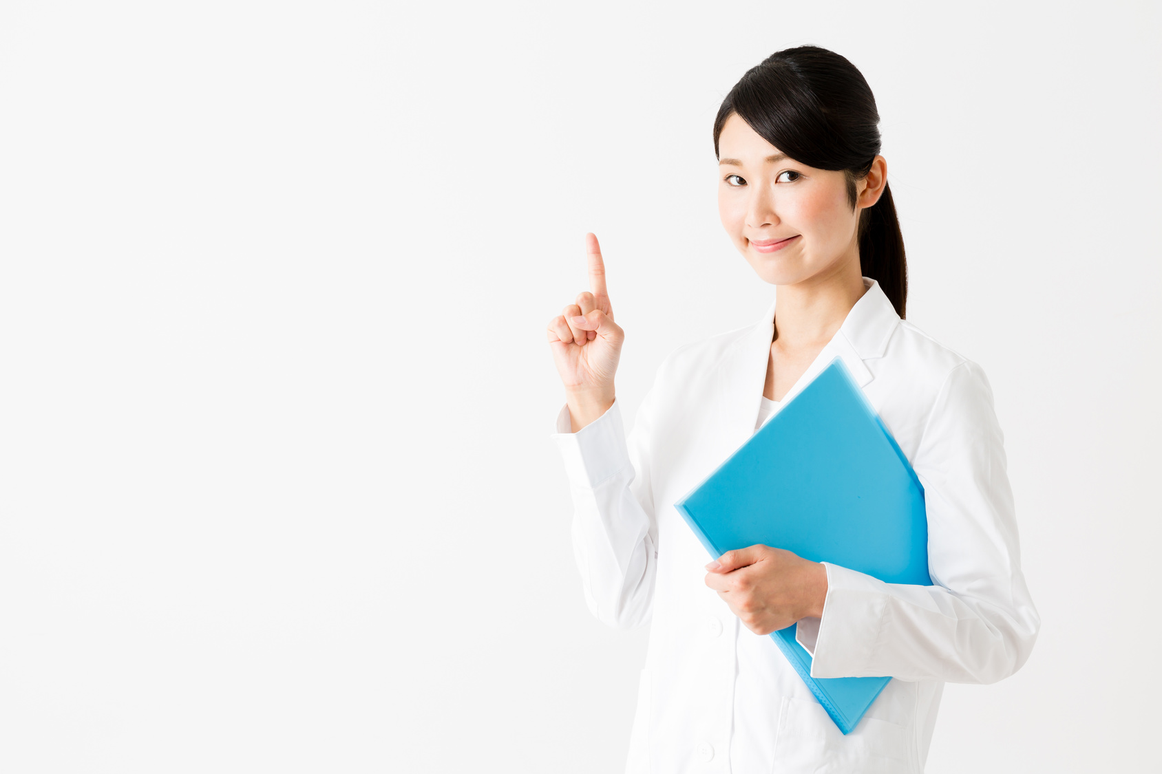 portrait of young asian doctor showing isolated on white background