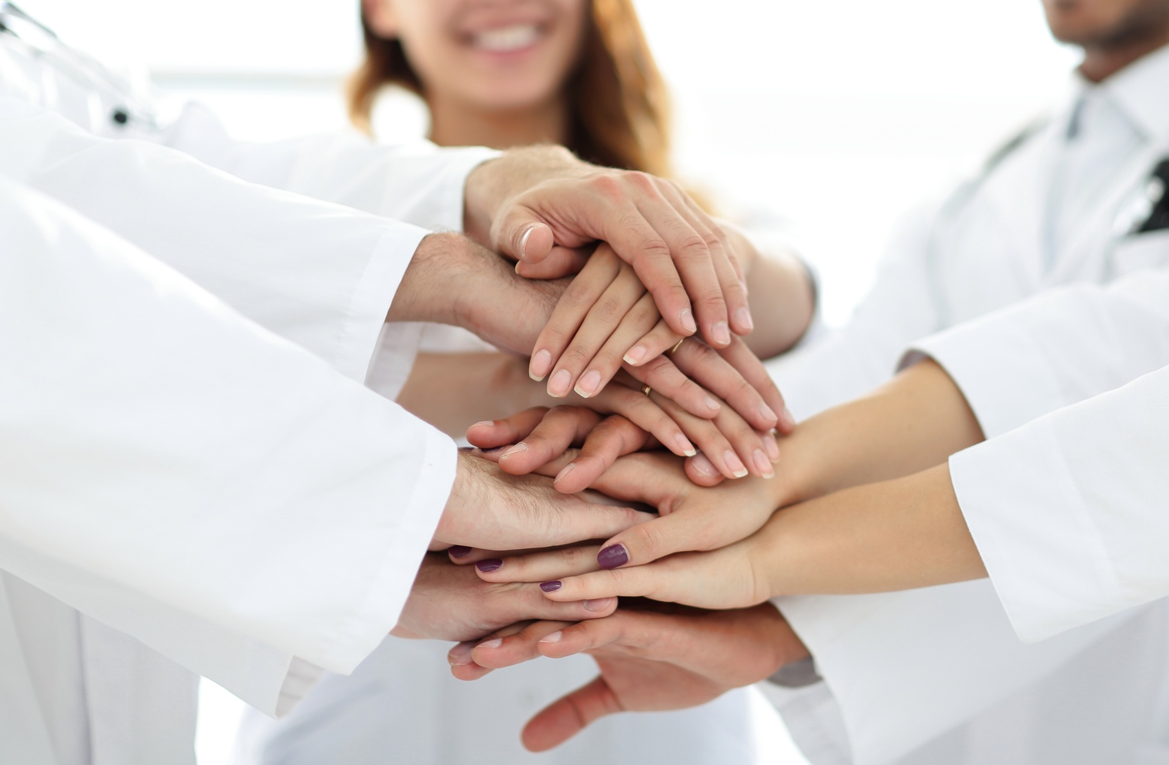 close-up of the medical team shows its unity.concept of mutual aid.