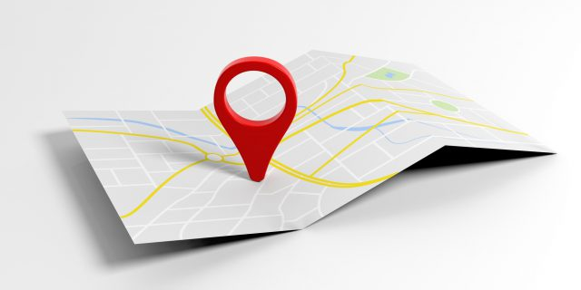 Map pointer location on white background. 3d illustration