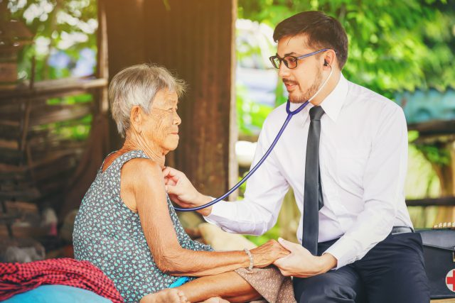 Family medicine visits the  elderly woman in rural