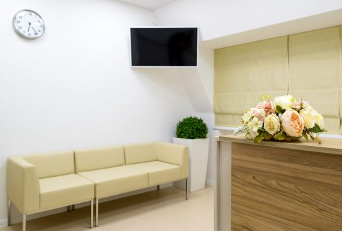 Reception with flower in office