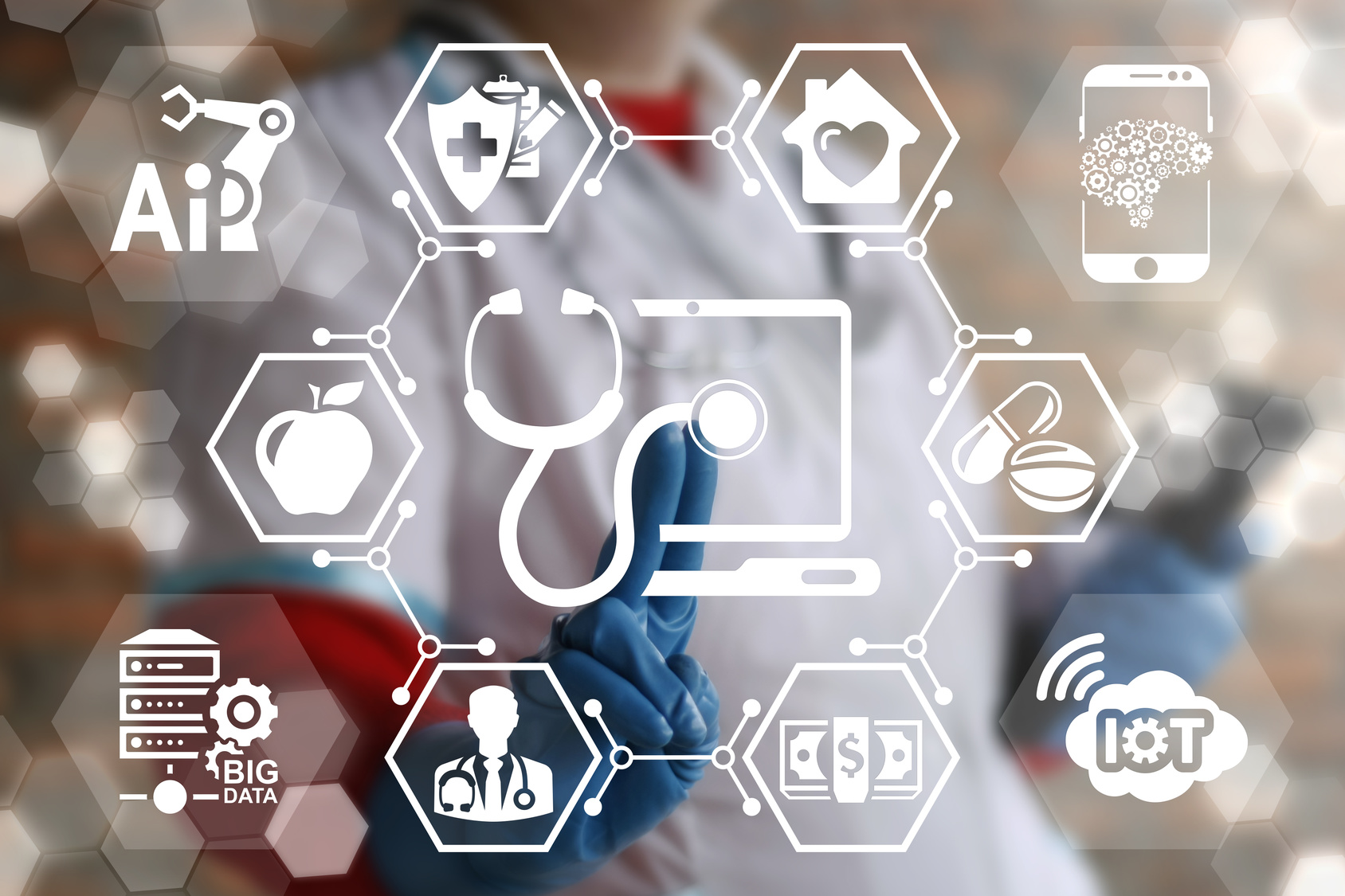 Innovative Technologies Diagnosis and Treatment in Medicine. Health Care Innovation Information Technology Integrate. Doctor touched laptop stethoscope icon on virtual screen. Data, IOT, AI, Computing