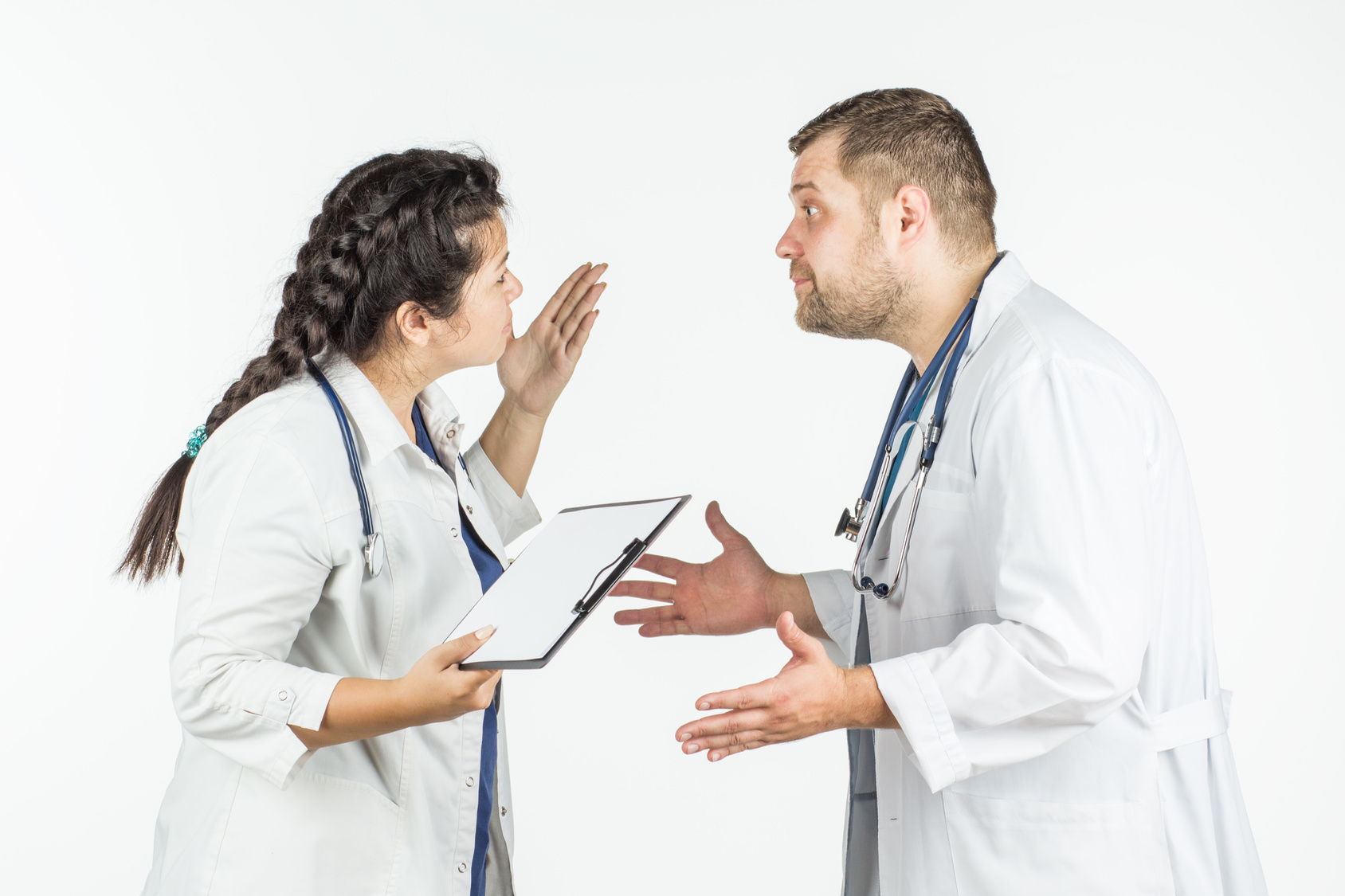 the doctor swears by the nurse. on a white background.