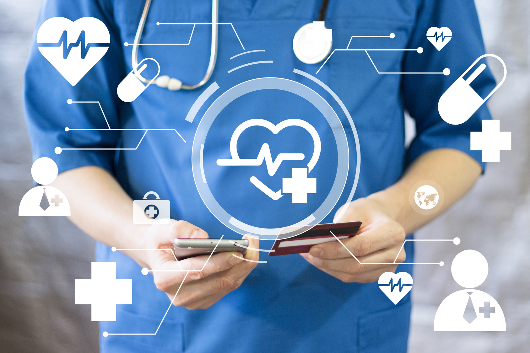 Doctor pushing button heart pulse healthcare network on virtual panel phone medicine