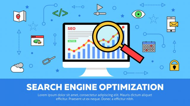 Search Engine Optimization Concept with Monitor and Magnifying Glass