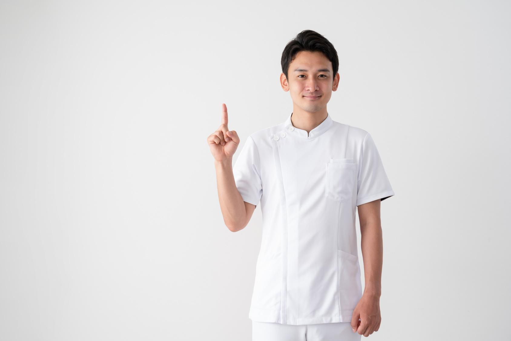 医者、看護師、指をさす、ご案内、ポイント、指示